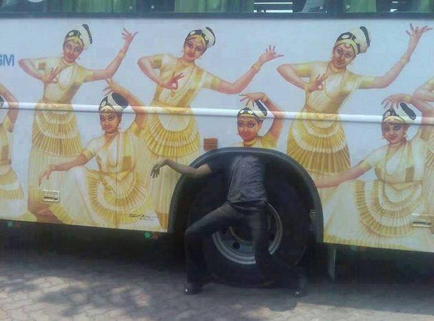 man under bus