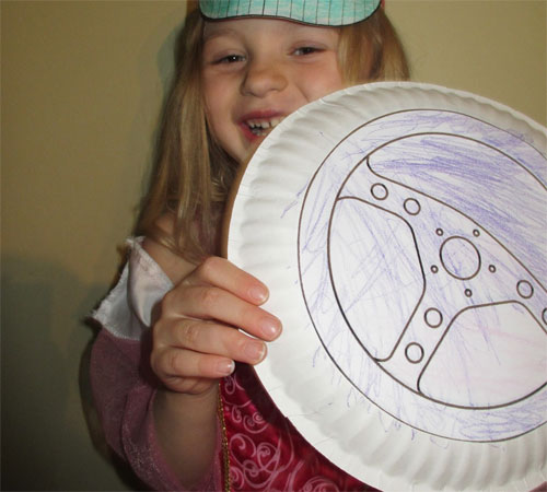 cute girl with wheel