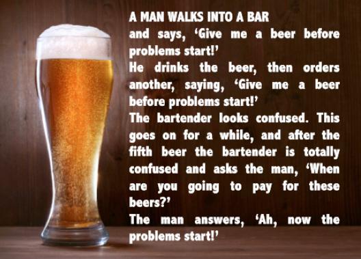 funny a man walks into a bar joke