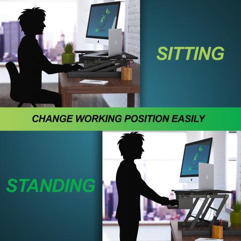 get the best gas lift adjustable standing desk converter sit stand office