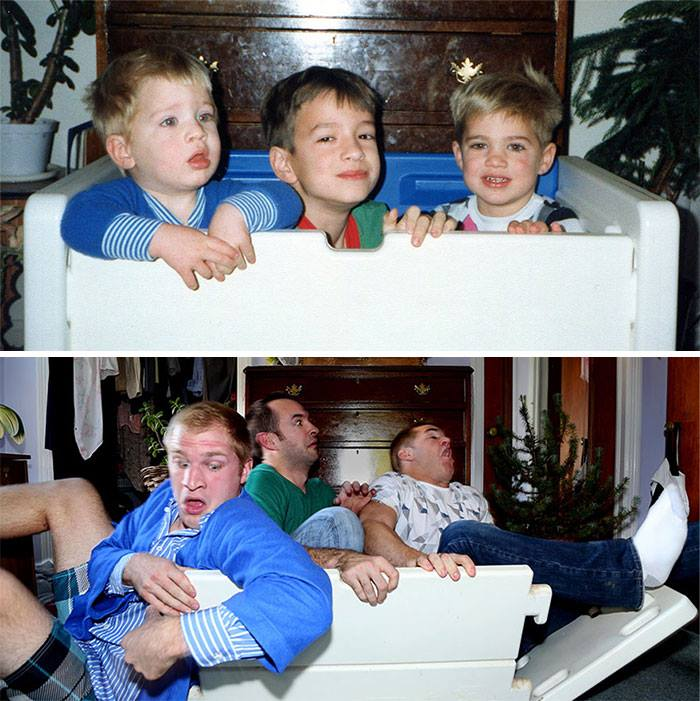 before and after photos of siblings